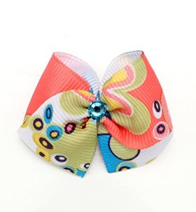 """Puppy Kisses """"Groovy"""" Dog Hair Bow – Metal barrette closure, Made with SWAROVSKI ELEMENTS"""