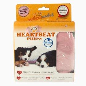PetZu Mother's Comfort Heartbeat Pet Pillow, Pink/White