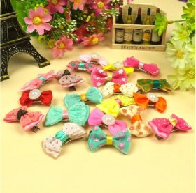 10 X Kids Pet Doggy Pup's Hair Head Flower Hairpin Clip Hair Bows for Small Puppy