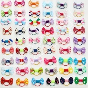 100 X Kids Hair Rubber Band Bows Puppy Dog Bows Pets Grooming for Groomer