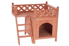 PROMOTION SALE Merax Indoor/Outdoor Pet Dog Wood House with Side Steps and Balcony, Natural Color