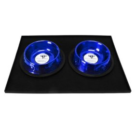 Platinum Pets Heavy-Duty Silicone Feeding Puppy Mat with 2 6-Ounce Embossed Puppy Bowls, Blue