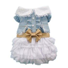 Petparty Fairy Denim Dog Dress for Dog Clothes Charming Cozy Dog Shirt Pet Dress ,S
