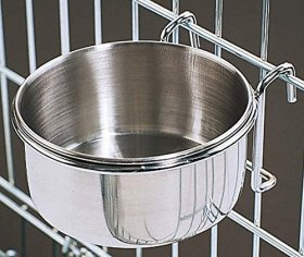30 Oz. Stainless Steel Cage Coop Cup Bird Cat Dog Puppy Food Water Bowl pet travel