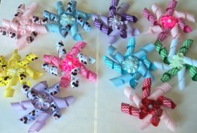 Pack of 10 Dog Hair kroker Bows with French Clip- Spring/Easter/Summer Design-Two tone- Mickey or Chevron Collection – Cute, Lovely, and affordable!!!