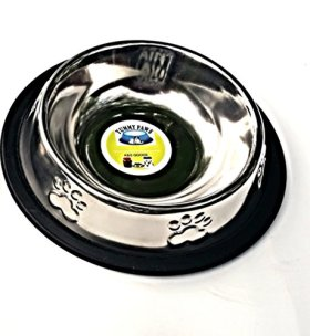 Stainless Steel Non Tip/Skid Doodler Paws Dish Perfect for Small Dog Cat Kitten Puppy 6″