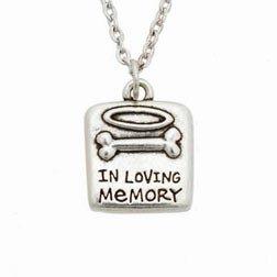 Rockin' Doggie Pewter Memorial Necklace, In Loving Memory