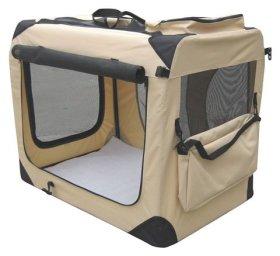 EliteField Beige 42″ 3-Door Soft Dog Crate, 42″ long x 28″ wide x 32″ high