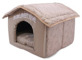 Best Pet Supplies Home Sweet Home Pet House with Bones, Brown