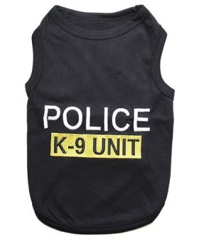 Parisian Pet Police Dog T-Shirt, Medium
