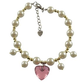 Dogloveit Pet Puppy Cat Dog Accessories Pearl Necklace w/ Heart Pendant Lovely Jewelry for Pet Dog Cat (Pink, M)
