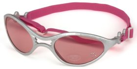 Doggles K9 Optix Shiny Silver Rubber Frame with Pink Lens Sunglasses, Small
