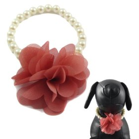 Alfie Couture Designer Pet Jewelry – Yui Pearl Necklace with Chiffon Flower Bouquet – Color: Pink, Size: L (11″) for Dogs and Cats
