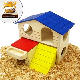 Alfie Pet Small Animal Hideout – GARI Wood Hut (Living Habitat for Dwarf Hamster and Mouse) – Size: Large