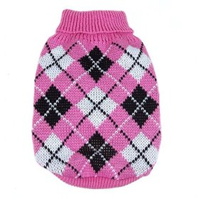 PanDaDa Small Pet Dog Plaid Style Sweater Knitwear Coat Apparel Dark Pink Small