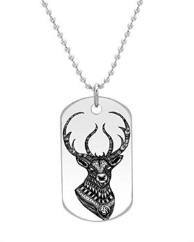 Deer head Ornate Stag pattern VTG elk retro art Customized design personalized unique OvaL Dog Tag Pet Tag Cat Animal Tag necklace pendant Bead Chain