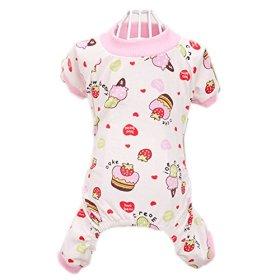 Urparcel Puppy Pet Dog Cotton Pajamas Cartoon Printed Clothes Jumpsuit Shirt Pink Small