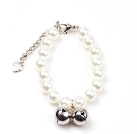 smalllee_lucky_store©Small Cat Dog Handmade Pearl Necklace Pet Jewelry Bells,White,Size S