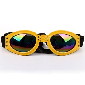 Cool Stylish And Funny cute Pet/Dog Puppy Goggles Sunglasses Waterproof Protection Folding Goggles With 6 Colors yellow