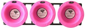 Platinum Pets Triple Modern Diner Stand with 1 Cup Stainless Steel Pet Bowls in Bubblegum Pink