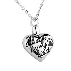 """HooAMI Cremation Jewelry """"Always in my heart"""" Paw Heart Pet Memorial Urn Necklace Ashes Keepsake Pendant"""