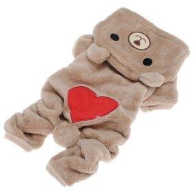 Pet Puppy Dog Love U Red Heart Bear Warm Fleece Hoodie Winter Clothes Jumpsuit Coat Clothes Hooded Coat,Asian size:XL/L/M/S/XS