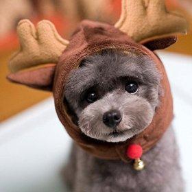 Mkono Dog Cat Pet Christmas/ Halloween Hat Christmas Party Costume Pet Costume Accessory Deer (M)