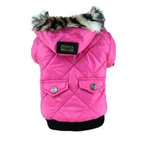 PanDaDa Pet Faux Pockets Coat Fur Trimmed Dog Puppy Hoodie Jacket Costume Rose S