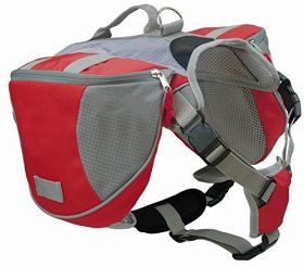 Kisspet Outdoor Large Capacity Dog Backpack Rucksack Pet Saddle Bag Tripper Hound Bag for Travel Hiking Mountaineering Camping Climbing and Other Outdoors Activities (Red, L)