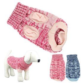 HP95 Hot! Fashion Knitted Sweater Twist Design Pet Puppy Knit Clothes (S, Rose)