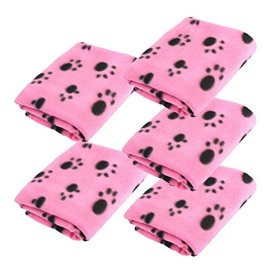 LUXMO 5pcs Pink Pet Dog Cat Puppy Kitten Soft Warm Blanket Mat Doggy with Paw Prints Cushion Lovely Design
