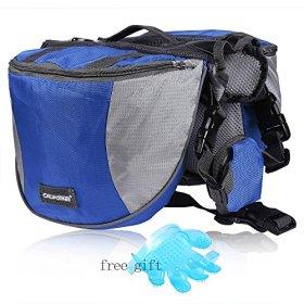 Cade Outdoor Hiking Camping Training Adjustable Dog Saddle-harness Bag Large Capacity Dog Backpack with Reflective Stripe(L, Blue)