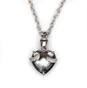 Heart Urn Necklace Pendant for cremation ashes 5 Colors (Misty Grey)