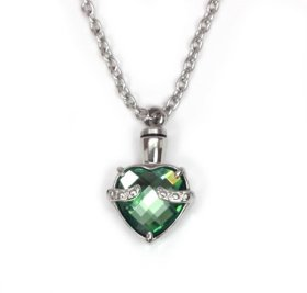 Heart Urn Necklace Pendant for cremation ashes 5 Colors (Emerald Green)