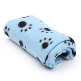 FOCUSPET Cute Paw Print Dog Cat Pet Puppy Fleece Blanket Warm Soft Bed Mat Car Seat Cover Blue-Black Claw