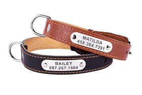 Personalized Leather Dog Collar with Laser Engraved ID Tag Nameplate Black Brown Puppy Small Medium Large (Brown, Neck Fit 15″ – 20″)