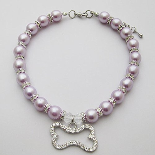 PetFavorites(TM) Couture Designer Fancy Engraved Crystal Bone Pet Cat Dog Necklace Collar Jewelry with Bling Pearls Rhinestones Charm Pendant for Pets Cats Small Dogs Female Puppy Chihuahua Yorkie Girl Costume Outfits, Adjustable and Handmade (Purple, Neck Size: 10″-12″)