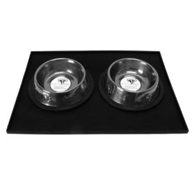 Platinum Pets Heavy-Duty Silicone Feeding Puppy Mat with 2 6-Ounce Embossed Puppy Bowls, Black Chrome