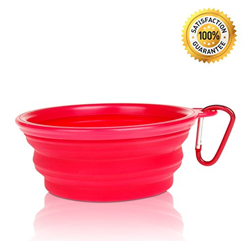 Nom Nom Puppy Collapsible, Eco-friendly, Portable Travel Pet Water Bowl (12 Oz) with Free Bonus Carabiner Belt Clip – Lightweight, Convenient, Travel Cup, Durable, Pop-up, Silicone Dog Bowl – Pet Safe – 100% Satisfaction Guaranteed (Red)