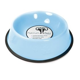 Platinum Pets 1-Cup Embossed Non-Tip Puppy Bowl, Sky Blue