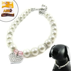 Alfie Couture Designer Pet Jewelry – Pinky Crystal Heart Pearl Necklace – Size: M (10″- 12″) for Dogs and Cats