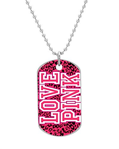 Love Pink Cheetah Victoria Secret Customized design personalized unique OvaL Dog Tag Pet Tag Cat Animal Tag necklace pendant Bead Chain