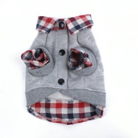 PanDaDa Dog Cat Grid Sweater Puppy Warm T-Shirt Pet Clothes POLO Shirt Dog Coat Grey L