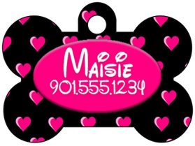 Disney Font Dog Tag Pet Id Personalized w/ Name & Number, Colorful Heart Dog Bone (Black & Pink)
