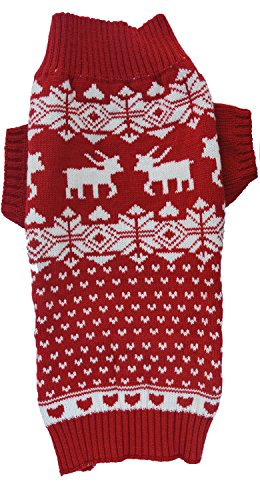 Red Christmas Reindeer Holiday Festive Dog Sweater for Small Dogs, Small (S) Size
