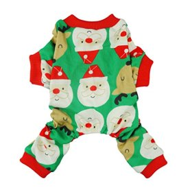 Fitwarm Cute Santa Reindeer Pet Clothes Christmas Dog Pajamas Shirts, Green, Small