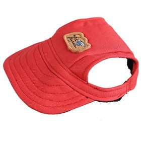 Kung Fu Dog Fashion Solid Red Canvas Pet Dog Cat Sports Baseball Hat Sun Cap with Ear Holes Only for Small Dogs
