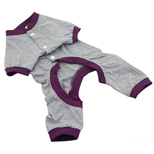 Binmer(TM)New Dog Pajamas Pet Clothes Clothing Puppy Coat Cat Jumpsuit Pet Supplies Products Sleepwear (Gray, S)