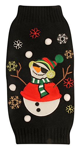 New York Dog Ugly Holiday Sweater for Pets, Black Snowman, Large