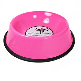 Platinum Pets 2 Cup Embossed Non-Tip Stainless Steel Dog Bowl, Pink